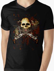 Sixgun Skull Mens V-Neck T-Shirt