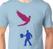 An angel with wings of a man silhuette  Unisex T-Shirt
