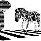 Elephant with zebra stripes on the city street intersections by SofiaYoushi