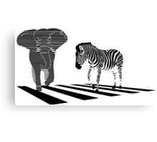 Elephant with zebra stripes on the city street intersections Canvas Print