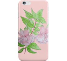 Pink fuchsia with leaves water-color flower art  iPhone Case/Skin