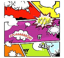 onomatopoeia boom zap splash pop art comic book  Photographic Print