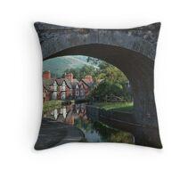 Llangollen canal bridge 46 and houses 19790829 0004 Throw Pillow