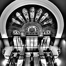 Escalation In Black and White - QVB , Sydney - The HDR Experience by Philip Johnson