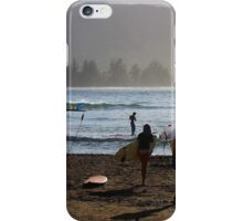 Evening Surfers at Hanalei Bay iPhone Case/Skin