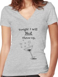 Tonight's Vow - Black Print Women's Fitted V-Neck T-Shirt