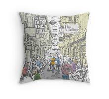Illustration of Melbourne Lane way Throw Pillow