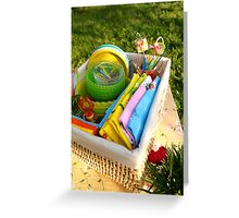 Bright color summer picnic accessories Greeting Card