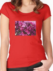 Dark Pink Cherry Blossoms Women's Fitted Scoop T-Shirt