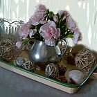 Cottage Pink Carnations and Pewter by Brenda Dow