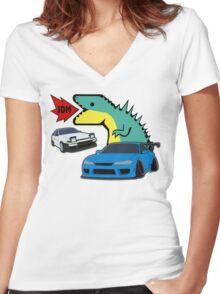 JDM dino & cars Women's Fitted V-Neck T-Shirt