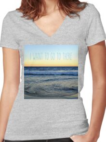 I Want to Go to There Women's Fitted V-Neck T-Shirt