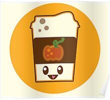 Kawaii Pumpkin Spice Latte Poster
