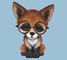Cute Red Fox Cub Wearing Glasses on Teal Blue Kids Clothes