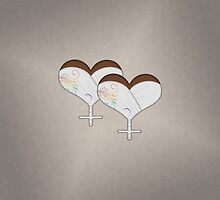 Lesbian Wedding Heart by LiveLoudGraphic