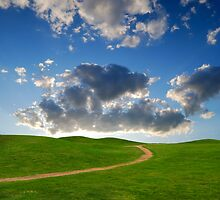 pedestrian path between green hills on a background picturesque sky by Sergieiev