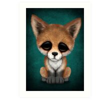 Cute Red Fox Cub on Teal Blue Art Print
