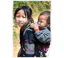 Vietnamese Hill-tribe girl and her baby brother Poster