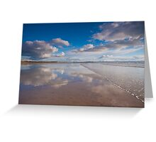 Waves wash over the Saunton Sands mirror Greeting Card