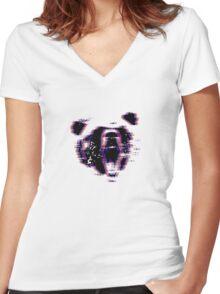 3D Bear Women's Fitted V-Neck T-Shirt