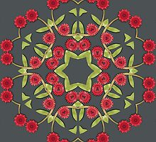 Red floral pattern by Dipali S