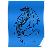 Tribal Dragon Blue Poster