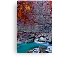 Zions Icy Virgin River Canvas Print