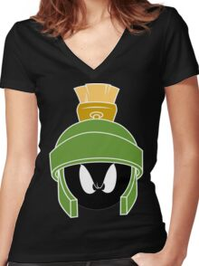 Martin the martian™ mad Funny Geek Nerd Women's Fitted V-Neck T-Shirt