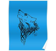 Tribal Wolf Blue Poster