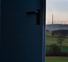 wire house and emley mast by Jean Bashford