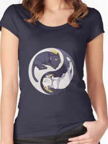 Luna and Artemis Yin Yang - Sailor Moon Women's Fitted Scoop T-Shirt