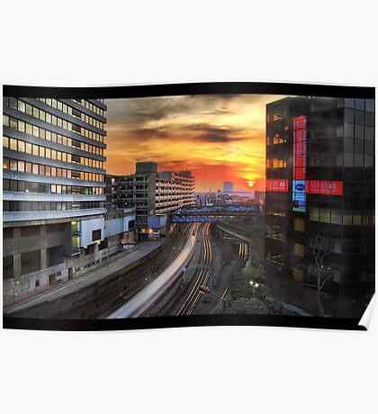 Sunset in metropolis Poster