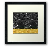 Black Marble and Gold Framed Print