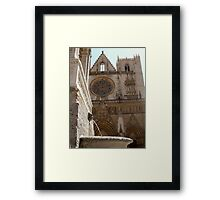 fountain and cathedral st jean, Lyon Framed Print