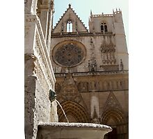 fountain and cathedral st jean, Lyon Photographic Print