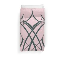 Lesbian Lovers Together Vector on Baby Pink Duvet Cover