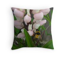 bumblebee sipping.. Throw Pillow