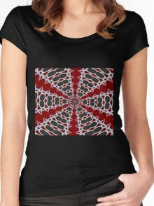 Red Black White Pattern Women's Fitted Scoop T-Shirt