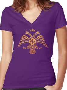 Byzantine Eagle Symbol Flag Women's Fitted V-Neck T-Shirt