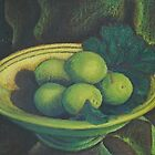 Limes in bowl - pastel on board, 40 x 50 cm by Deborah Green