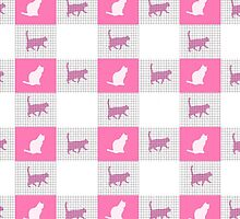 Vintage pink cats silhouette checkered pattern by Maria Fernandes