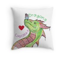 Dragons love Cupcakes! With words Throw Pillow