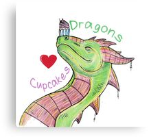 Dragons love Cupcakes! With words Metal Print