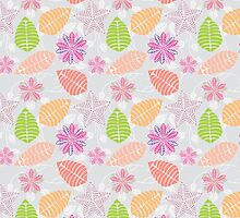 Vintage girly pink orange abstract floral pattern  by Maria Fernandes