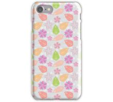 Vintage girly pink orange abstract floral pattern  iPhone Case/Skin