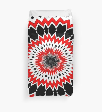 Bizarre Red Black and White Pattern Duvet Cover
