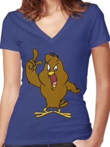 Henery hawk yelling Funny Geek Nerd Women's Fitted V-Neck T-Shirt