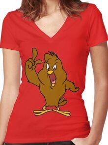 Henery hawk yelling Funny Geek Nerd Women's Fitted V-Neck T-Shirt