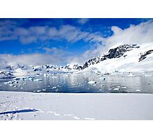 Icebergs and mountains of Cuverville Island near Antarctic Peninsula Photographic Print