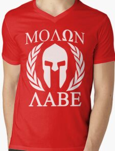 Molon Labe Grunge Spartan Funny Geek Nerd Mens V-Neck T-Shirt
